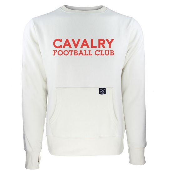 Women's Cavalry FC Red Wordmark White Sweatshirt