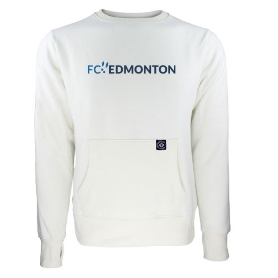 Women's FC Edmonton Blue Wordmark White Sweatshirt
