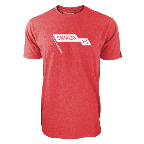 Men's Cavalry FC White Pennant Logo Red T-Shirt