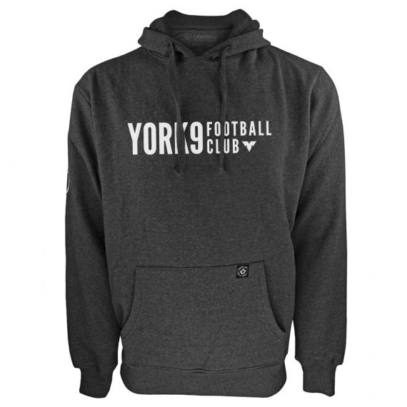 Men's York 9 FC White Wordmark Charcoal Hoody
