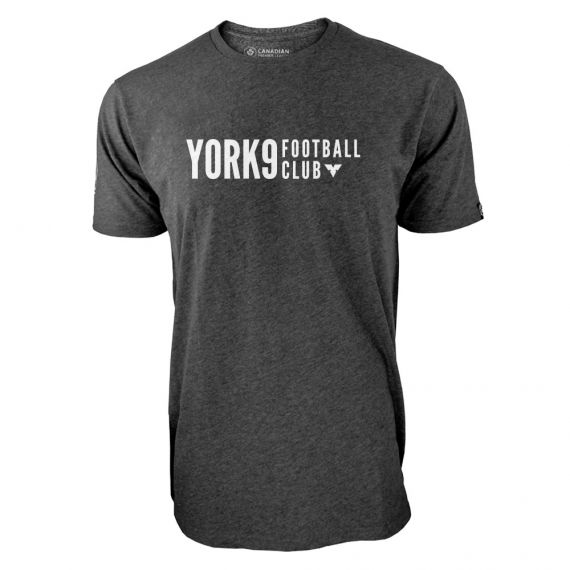 Men's York 9 FC White Wordmark Charcoal T-Shirt