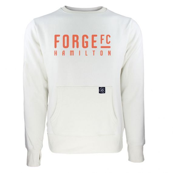 Women's Forge FC Orange Wordmark White Sweatshirt